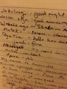 One journal page that catalogued the many words/phrases I learned in Uganda.